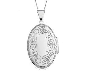 Sterling Silver Forget-Me-Not Large Oval Locket