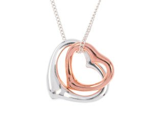 Sterling Silver & Rose Gold Plate Double Heart Pendant