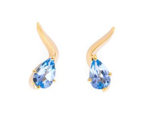 9ct Gold Topaz Wave Stud Earrings