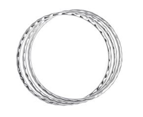 Sterling Silver Triple Hammer Effect Bangle
