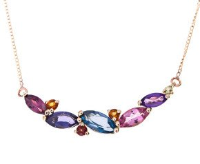 9ct Gold Multigem Cocktail Necklace