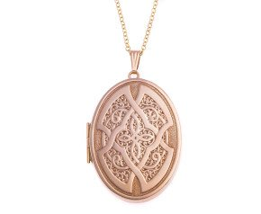 Vintage 9ct Gold Patterned Large Locket