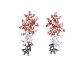 Sterling Silver Rose Gold Vermeil & Rhodium Vermeil Flower Ear Cuff Studs