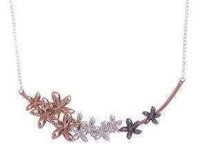 Sterling Silver Rose Gold Vermeil & Rhodium Vermeil Flower Necklet