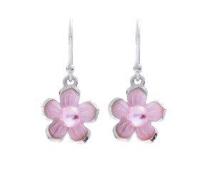 Sterling Silver Pink Pearl Blossom Flower Earrings