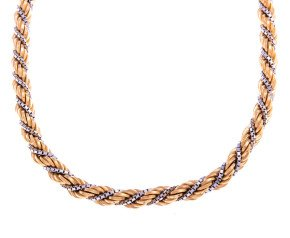 Vintage Two Tone Rope Chain Necklace