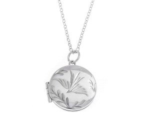 Pre-Owned Sterling Silver Round Stylised Dove Locket