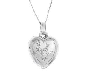Pre-Owned Sterling Silver Heart Dove Pendant