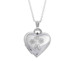 Pre-Owned Sterling Silver Flower Heart Locket