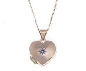 9ct Gold Small Diamond Heart Locket