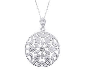 Sterling Silver & Diamond Milgraine Open Work Round Locket