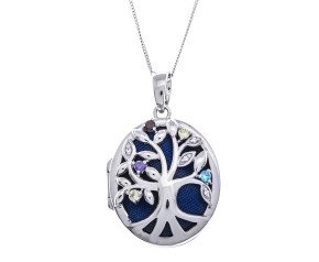 Sterling Silver Oval Open Work Tree Locket