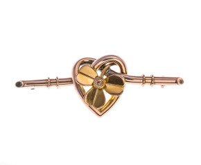 Antique Victorian 15ct Gold Clover & Heart Bar Brooch