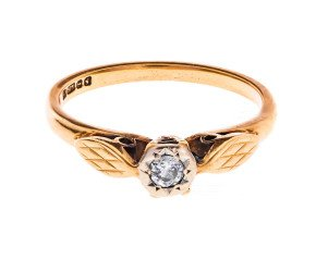 Vintage 9ct Gold Solitaire Diamond Ring