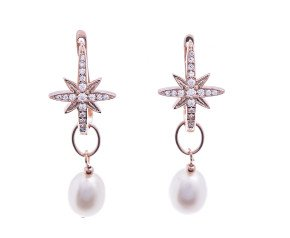 Sterling Silver & Rose Gold Vermeil Star Burst Pearl Drop Earrings