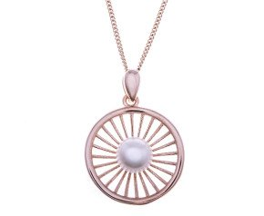 Sterling Silver & Rose Gold Vermeil Round Web Pearl Pendant