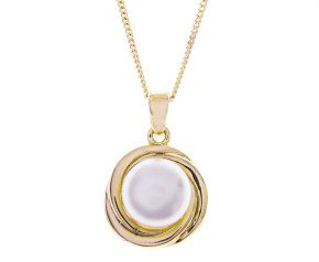 Sterling Silver & Yellow Gold Vermeil Button Pearl Pendant