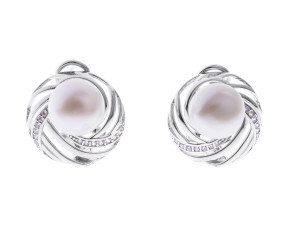 Sterling Silver 9mm Button Pearl Web Earrings