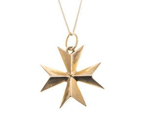 Vintage Solid Maltese Cross Pendant