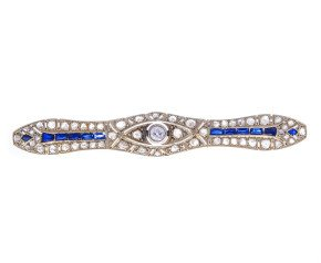 Art Deco Diamond & Synthetic Sapphire Brooch