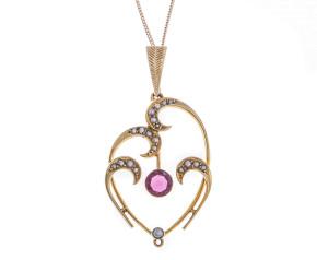 Antique Edwardian 15ct Gold Split Pearl & Paste Pendant