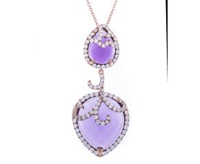 Sterling Silver & 18ct Rose Gold Vermeil Amethyst Double Drop Necklace