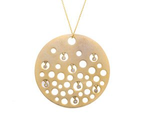Sterling Silver & Gold Vermeil Disk Necklace