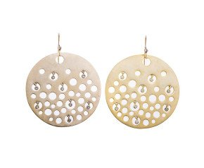 Sterling Silver & Gold Vermeil Disk Drop Earrings