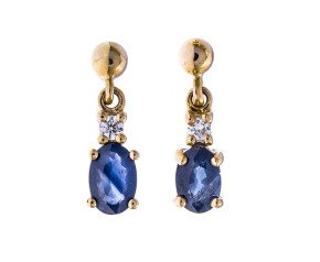 9ct Gold 1.00ct Sapphire & Diamond Drop Earrings