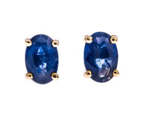 9ct Gold 1.10ct Sapphire Solitaire Earrings