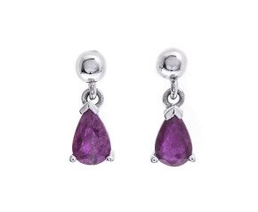 9ct White Gold 1.00ct Ruby Drop Earrings