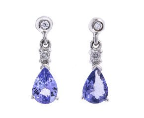 9ct White Gold 1.60ct Tanzanite & Diamond Drop Earrings