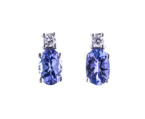 9ct White Gold 0.80ct Tanzanite & Diamond Stud Earrings