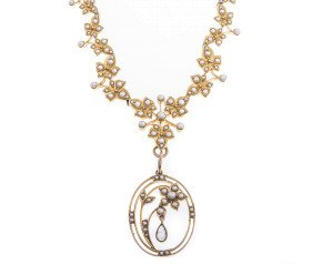 Antique Edwardian 15ct Gold Seed Pearl & Aquamarine Necklace