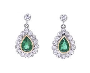 18ct Gold Emerald & Diamond Cluster Drop Earrings