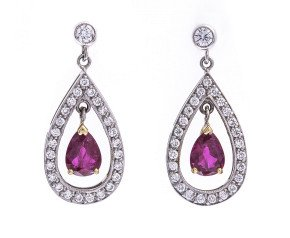 18ct White Gold Ruby & Diamond Drop Earrings