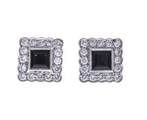 18ct Gold Sapphire & Diamond Square Halo Stud Earrings