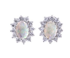 18ct Gold Opal & Diamond Oval Halo Stud Earrings