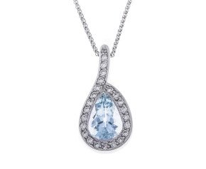 18ct White Gold Aquamarine & Diamond Drop Necklace