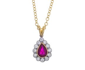 18ct Gold Ruby & Diamond Pendant