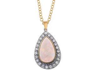 18ct Gold Opal & Diamond Drop Pendant