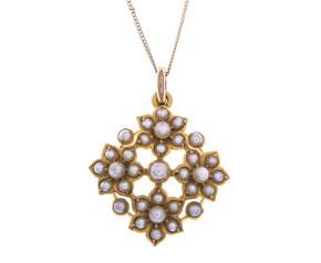 Antique Edwardian 15ct Gold Seed Pearl Quatrefoil Daisy Pendant