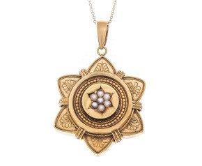 Antique Victorian 15ct Yellow Gold Split Pearl Pendant