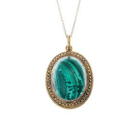 Antique Victorian 15ct Yellow Gold Malachite Pendant