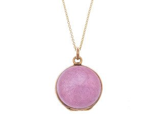 Antique Silver Pink Enamel Locket