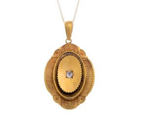 Antique Victorian 18ct Gold 0.20ct Diamond Memorial Locket