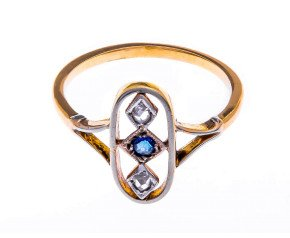 Antique Yellow Gold Sapphire & Diamond Ring