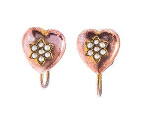 Antique Victorian Split Pearl Screw Back Earrings