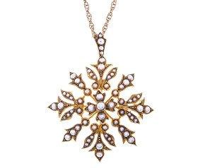 Antique 15ct Gold Split Pearl Pendant