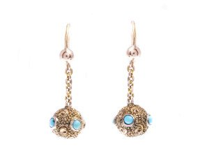 Antique Victorian 15ct Gold Turquoise Drop Earrings